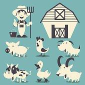 Farm animals set collection