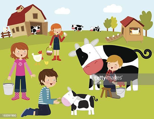ilustraciones, imágenes clip art, dibujos animados e iconos de stock de animales de granja (serie - vacas