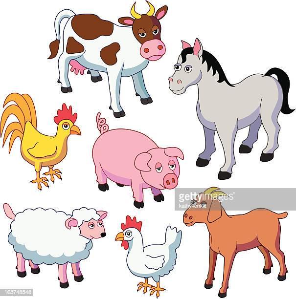 ilustraciones, imágenes clip art, dibujos animados e iconos de stock de animales de granja - animal doméstico