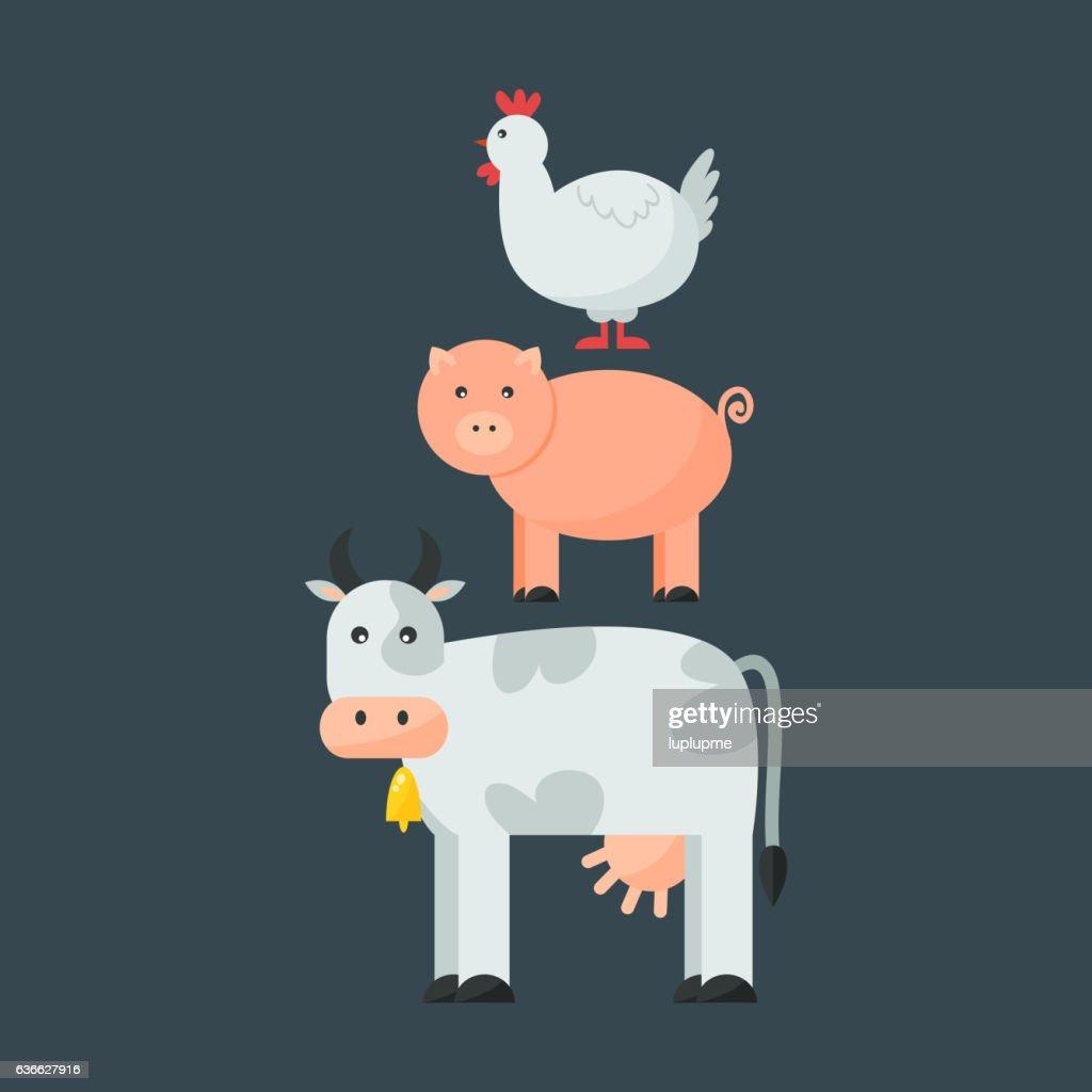 Farm animals vectot set.
