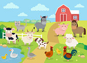 Farm animals with landscape - cute cartoon vector illustration with farm, cow, pig, horse, goat, sheep, ducks, hen, chicken and rooster