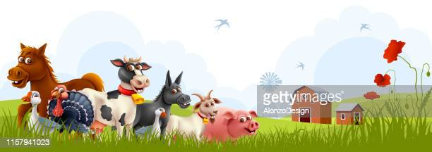 farm animals with landscape - livestock stock illustrations