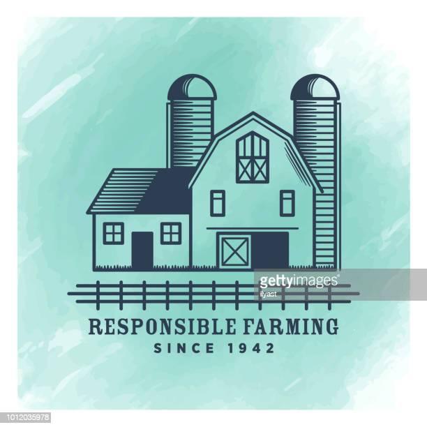 Farm Badge Watercolor Background