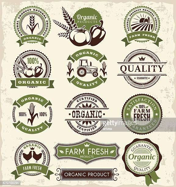 farm badges - agricultural fair stock illustrations, clip art, cartoons, & icons