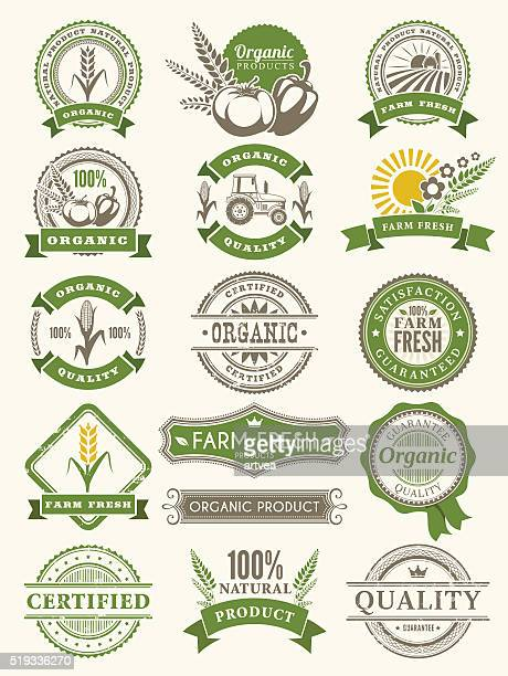 farm badges - organic stock illustrations, clip art, cartoons, & icons