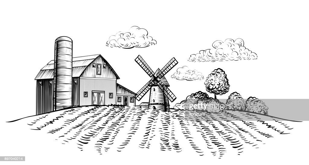Farm barn and windmill on agricultural field on background trees rural landscape hand drawn sketch style horizontal illustration