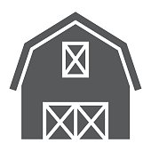 Farm barn glyph icon, farming and agriculture, farm hangar sign vector graphics, a solid pattern on a white background, eps 10.