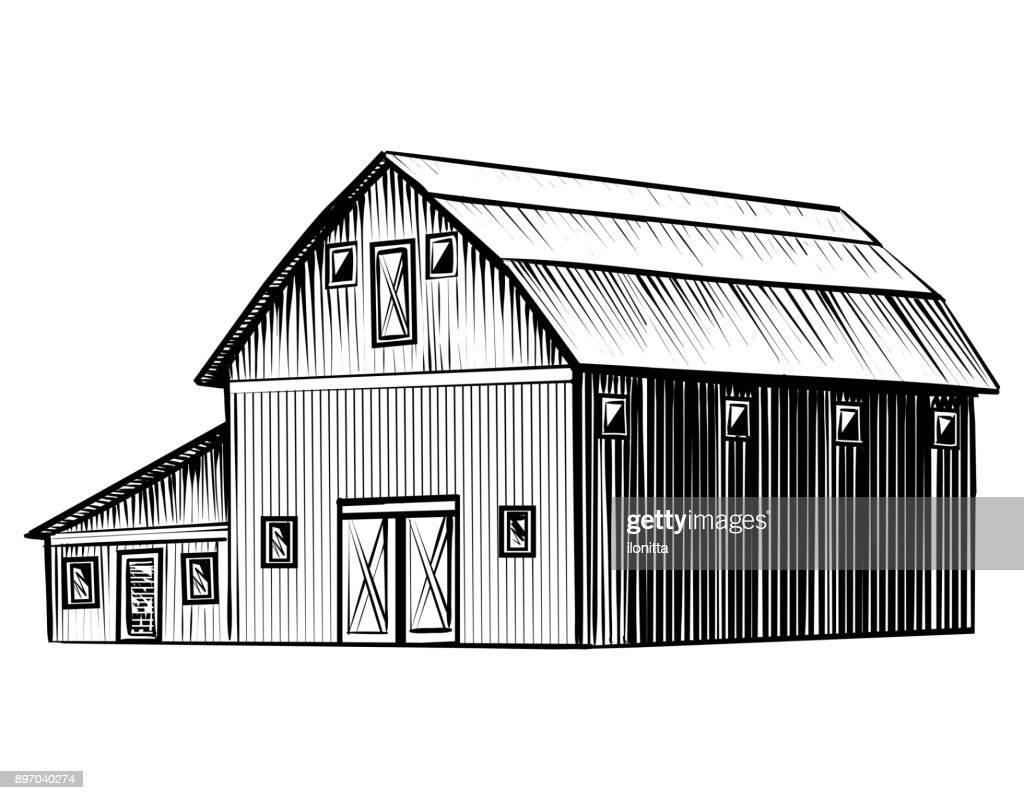 Farm barn isolated on white background hand drawn sketch style illustration