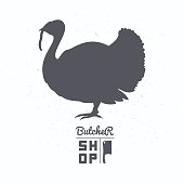 Farm bird silhouette. Turkey meat. Butcher shop template
