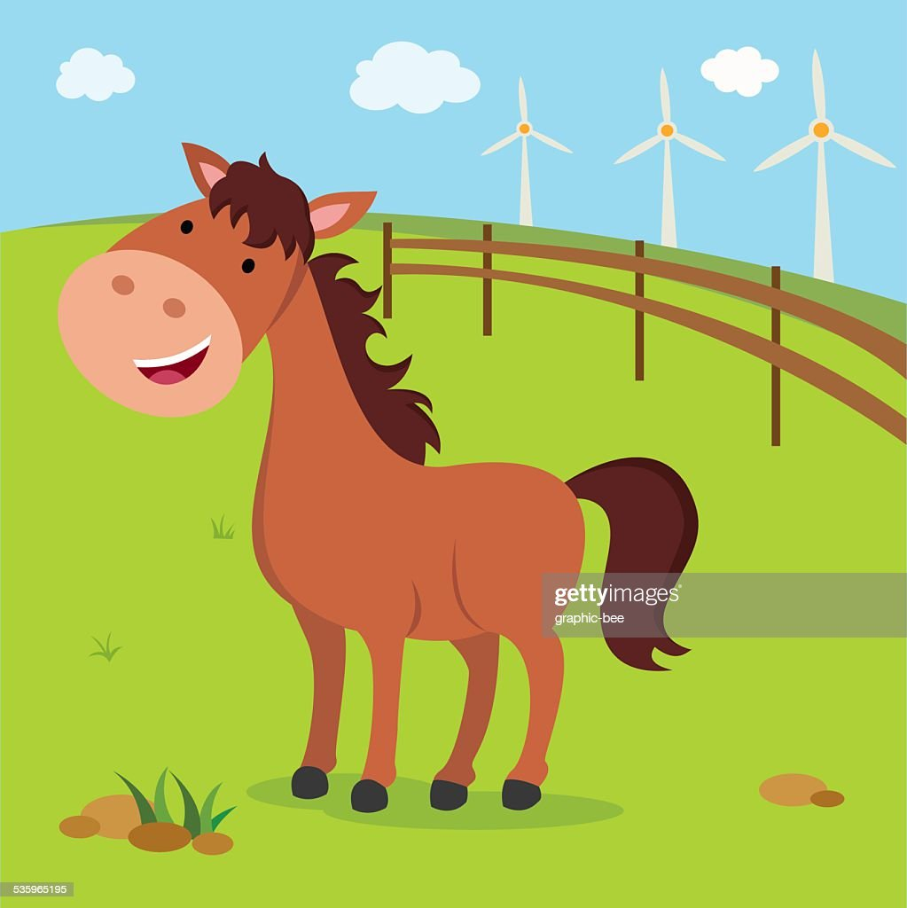 Farm. Brown horse and windmills.