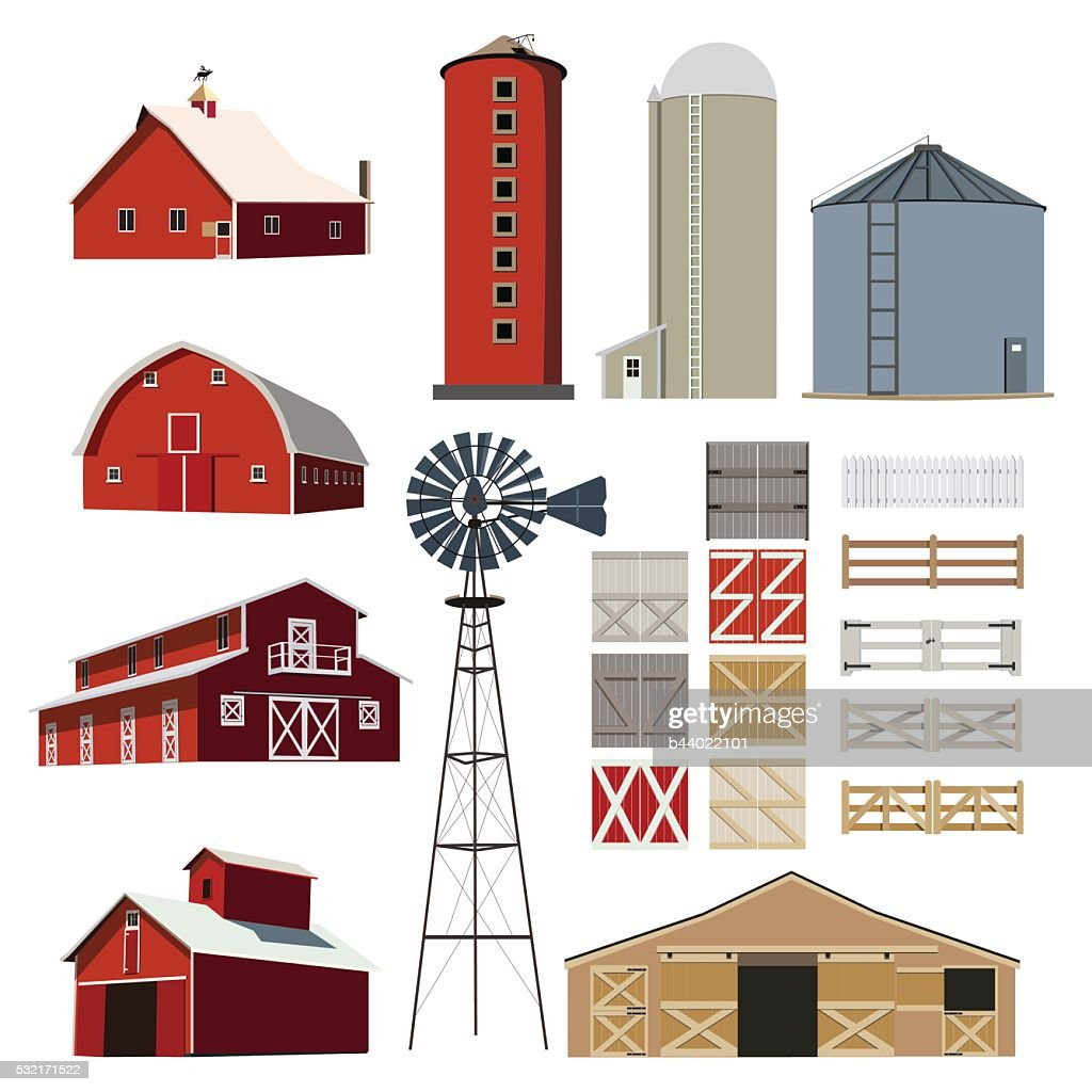 Farm Building Livestock vector set