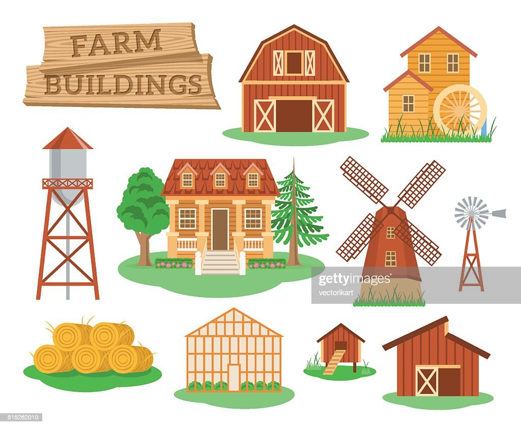 Farm buildings and constructions flat infographic elements