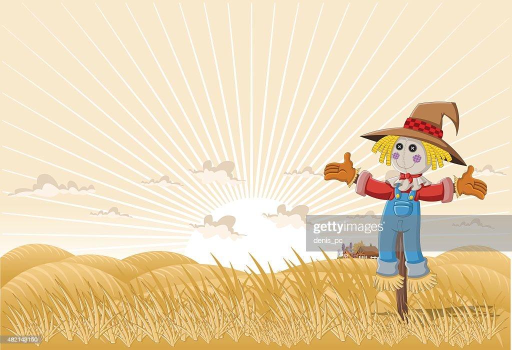 Farm cartoon scarecrow