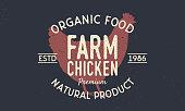 Farm Chicken vintage symbol concept. Chicken silhouette Trendy retro style. Vintage poster. symbol Template. Vector illustration