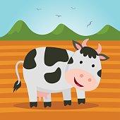 Farm cow. Cute dairy cattle.