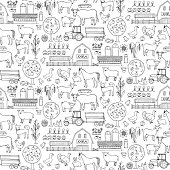 Farm doodle seamless pattern