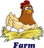 Farm emblem with a hen sitting on eggs