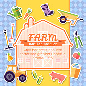 Farm equipment elements on background poster in sticker style design