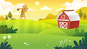 Farm fields in minimal and flat art work style