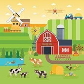 Farm flat vector landscape. Organic food concept for any design.
