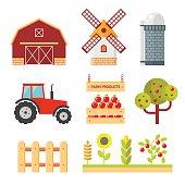 Farm flat vector set