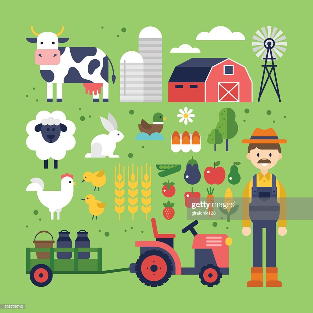 Farm food, products and animals icons. Harvest, agriculture