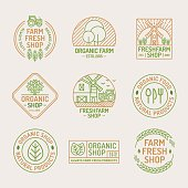 Farm fresh and organic shop icon set for healthy food market