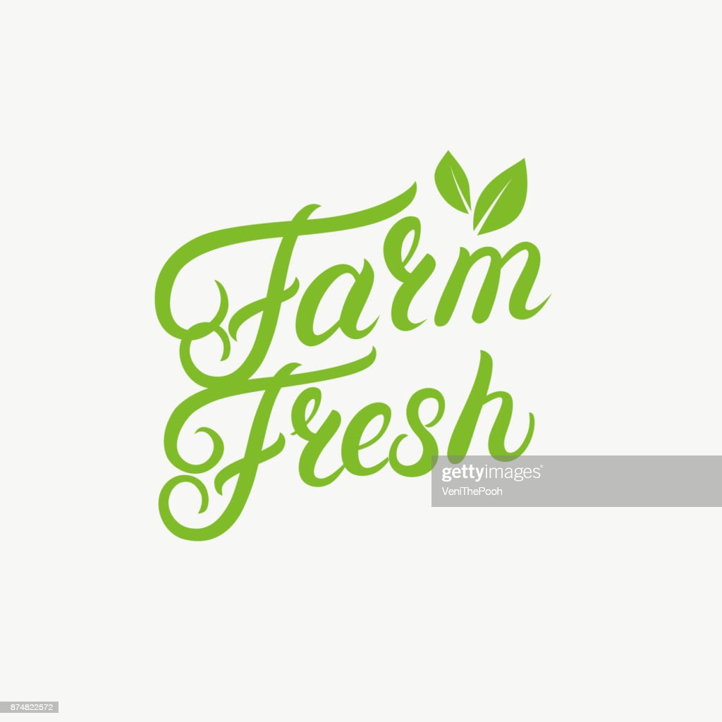 Farm Fresh hand written lettering logo, label, badge, emblem with leaves.