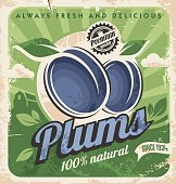 Farm fresh organic plums retro poster design