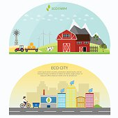 Farm green vector set