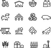 Farm harvest linear vector icons. Agronomy and farming pictograms. Agricultural symbols