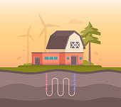 Farm house with sewage system - modern flat design style vector illustration