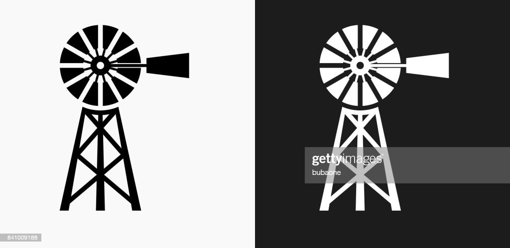 Farm Icon on Black and White Vector Backgrounds