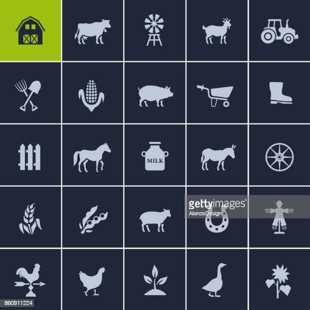 ilustraciones, imágenes clip art, dibujos animados e iconos de stock de conjunto de iconos de granja - vacas