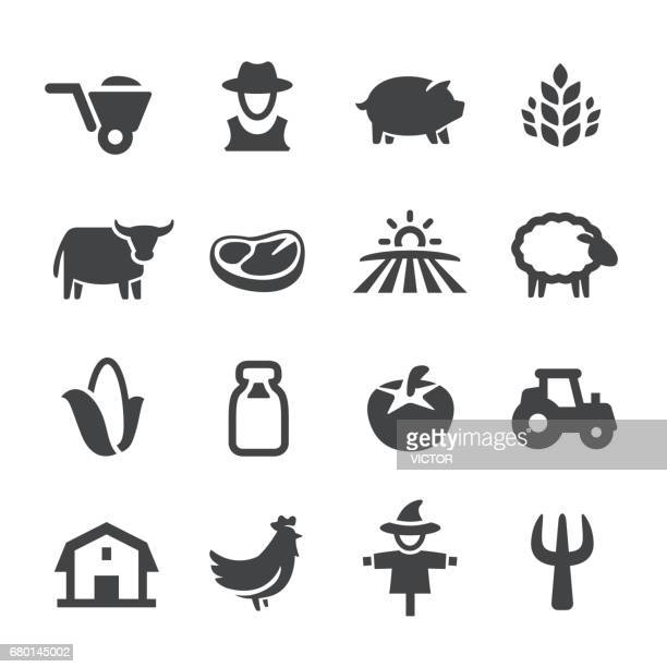 farm icons - acme series - meat stock illustrations