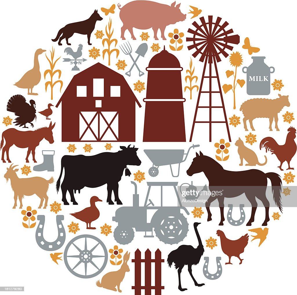 Farm Icons Composition : stock illustration
