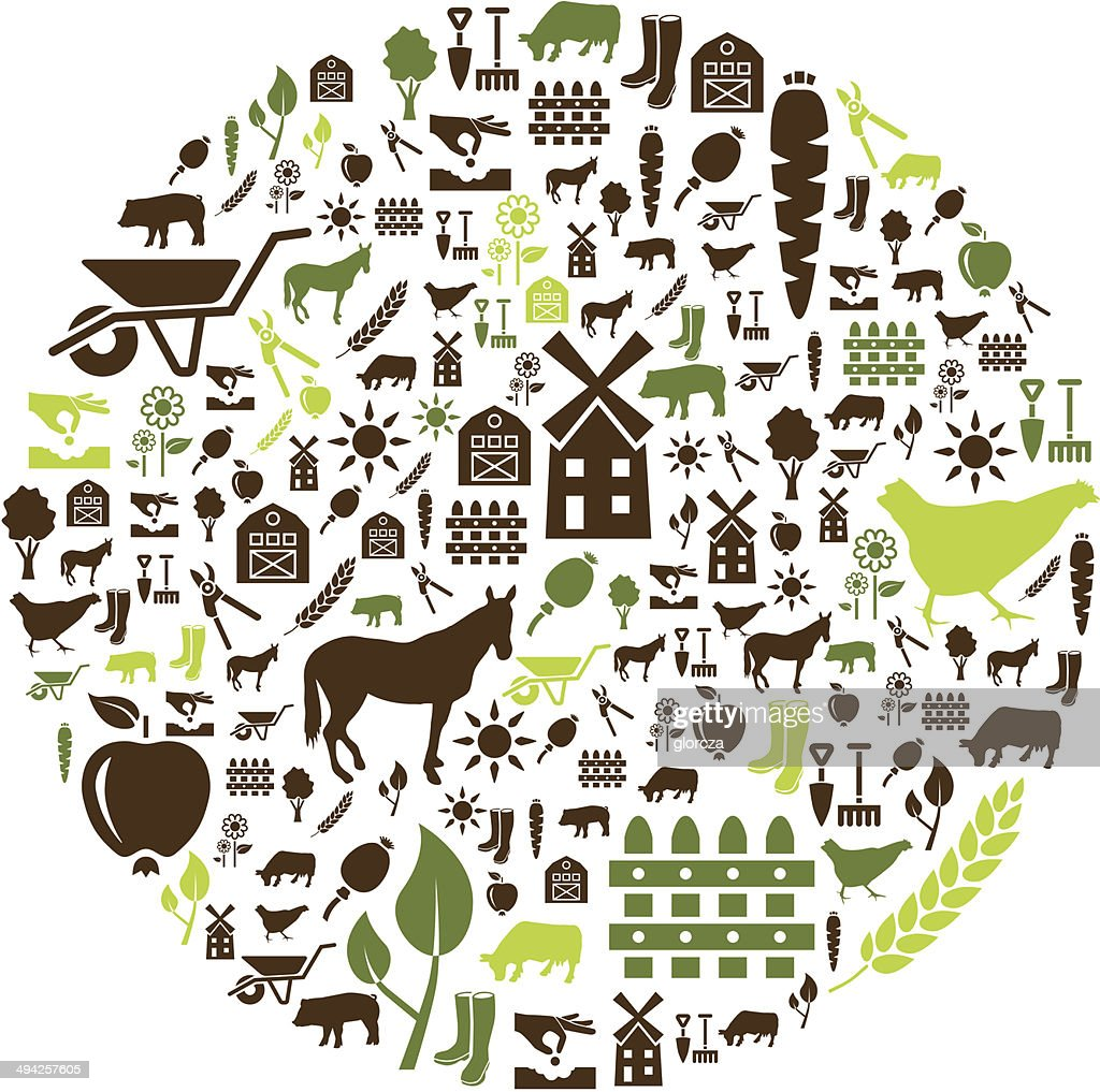 farm icons in circle