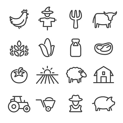Farm Icons - Line Series - gettyimageskorea