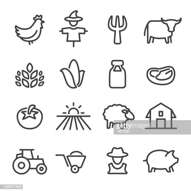farm icons - line series - tractor stock illustrations