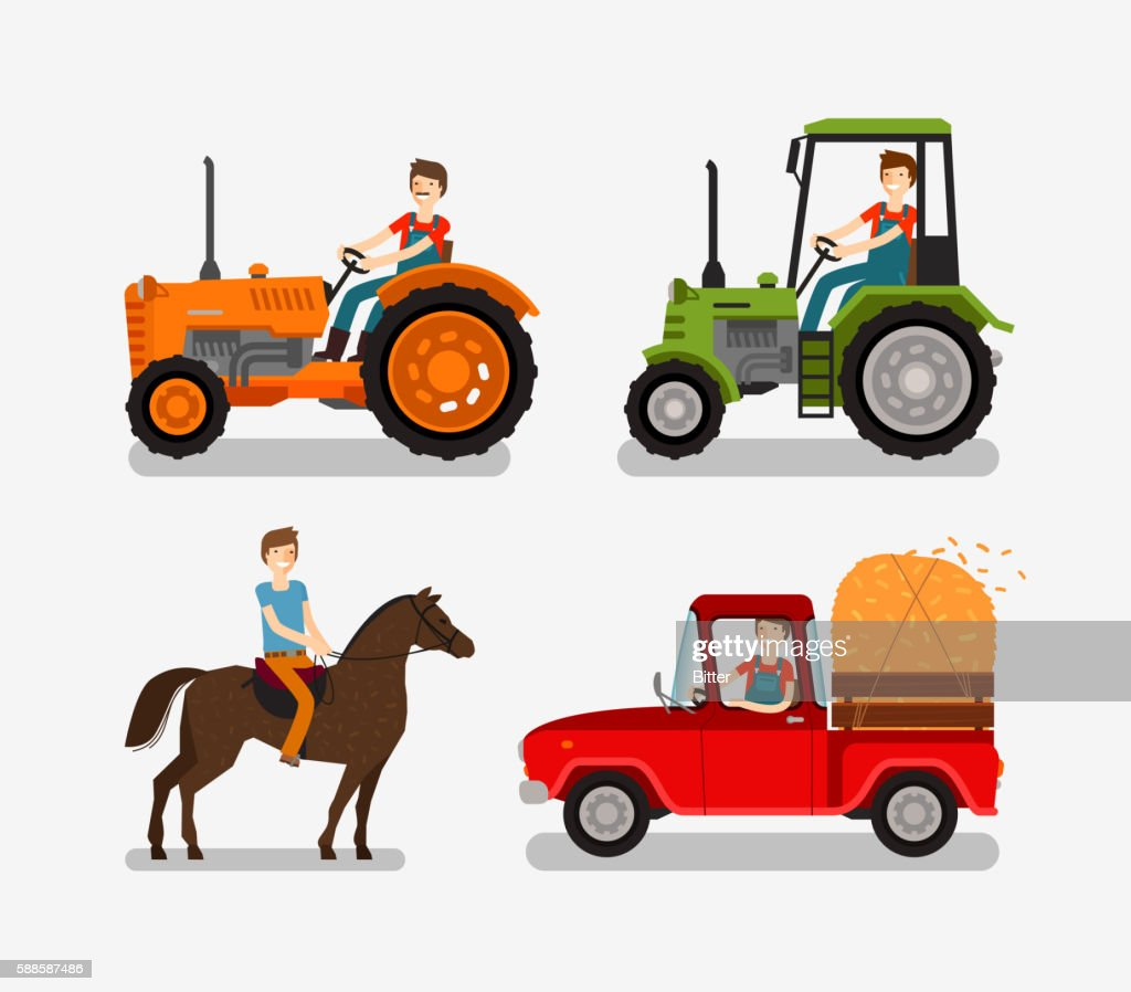 Farm icons set. Cartoon symbols such as tractor, truck, horse
