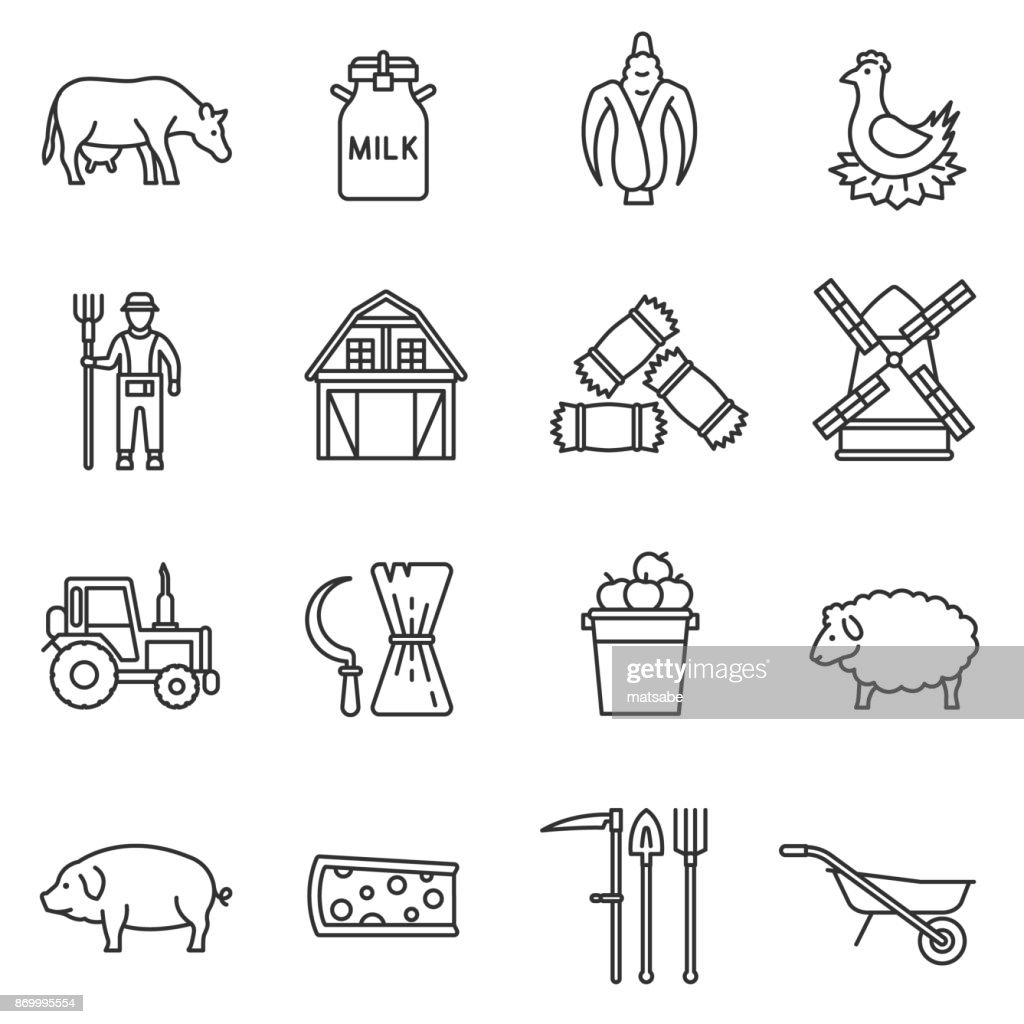 farm icons set. Editable stroke