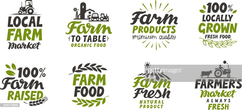 Farm icons set. natural, organic food. Symbol vector illustration
