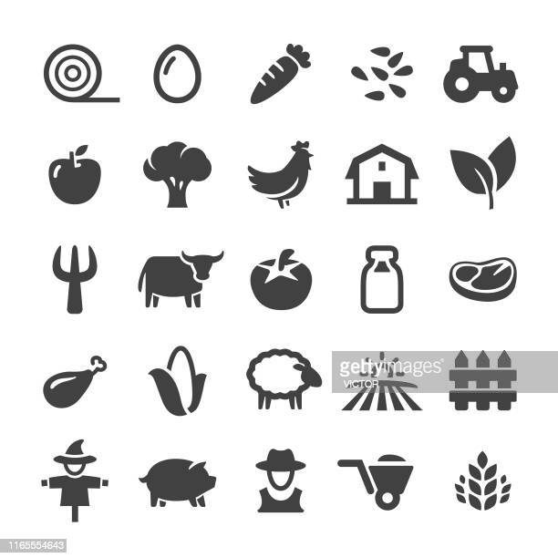 farm icons - smart series - tractor stock illustrations