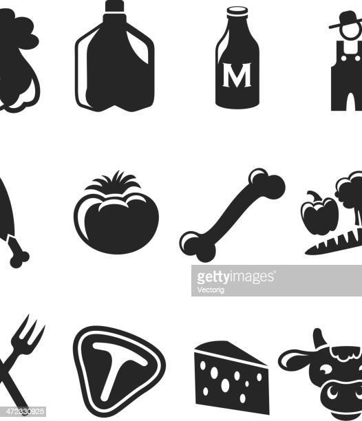 farm icons - dog bone stock illustrations