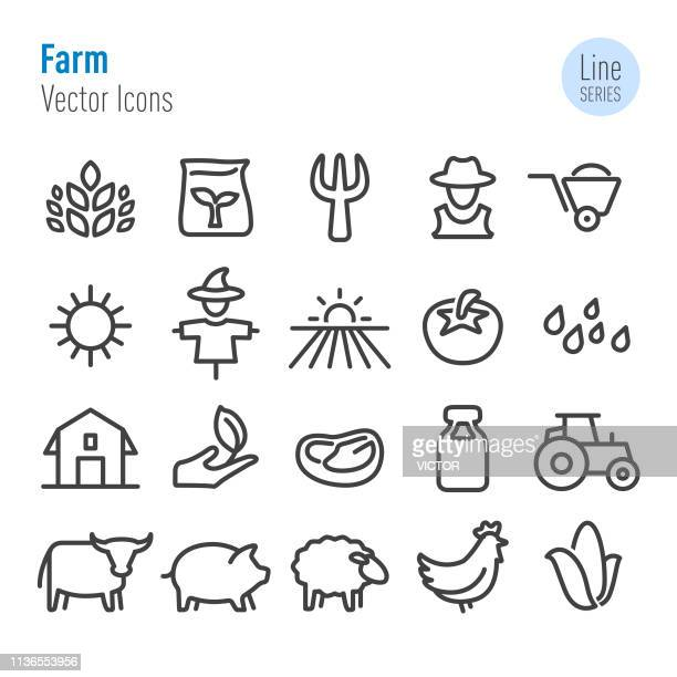 farm icons - vector line series - ranch stock illustrations