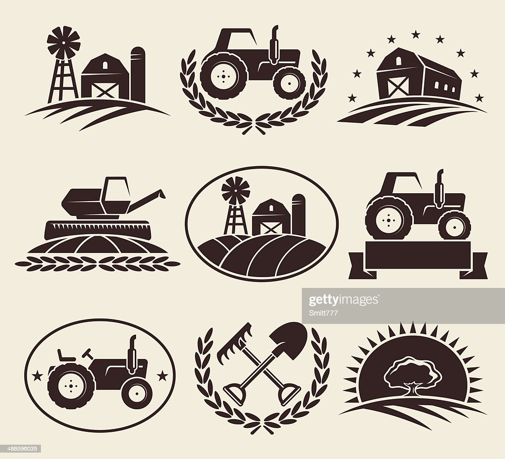 Farm labels set. Vector