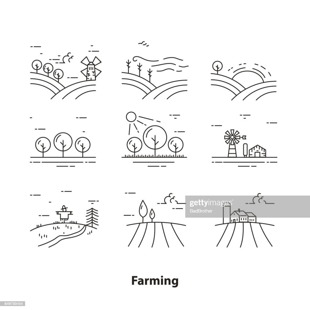 Farm landscape icons, thin line style - Illustration