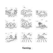 Farm landscape icons, thin line style - Illustration