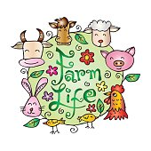 Farm life animals. Cartoon style.
