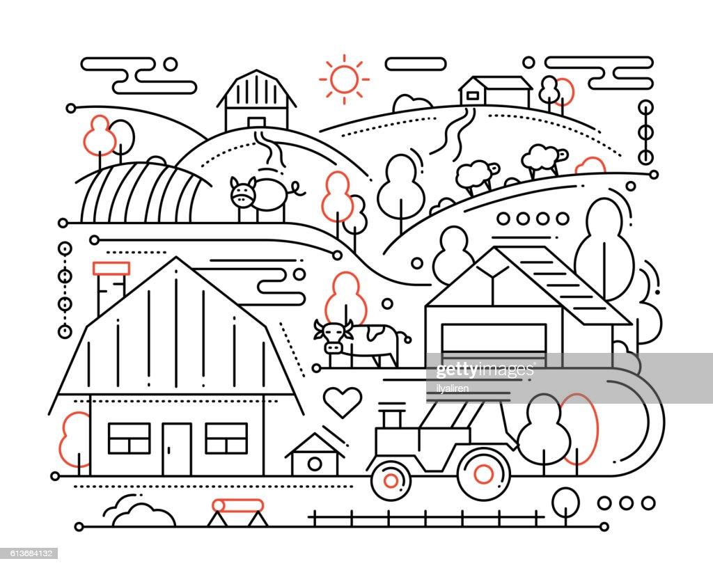 Farm - line design composition